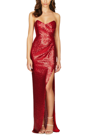 Adele Sequin Gown – Red
