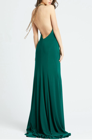 Beaded Halter Neck Gown
