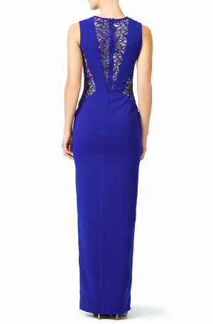 Blue Lace Crepe Gown