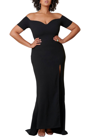 Bridget Off Shoulder Gown – Black
