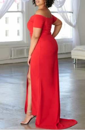 Bridget Off Shoulder Gown – Red