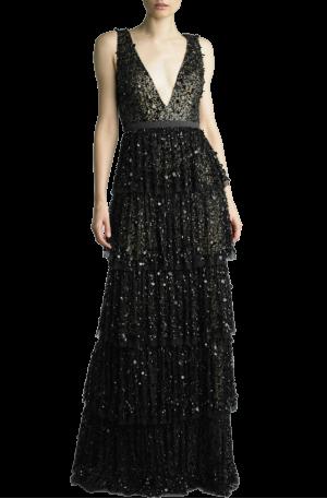 Black Sequin Tiered Gown