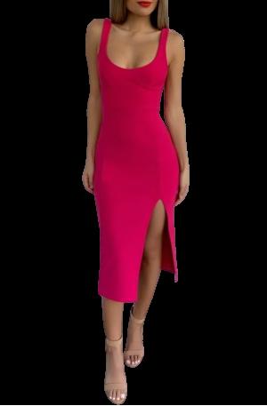 Elle Midi Dress – Hot Pink