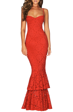 Liana Lace Gown – Red