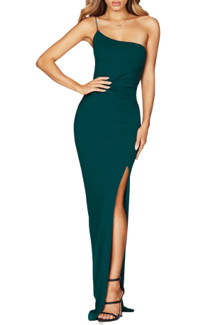 Lust One Shoulder Gown – Teal