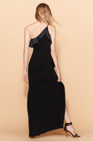 One Shoulder Drape Front Satin Gown