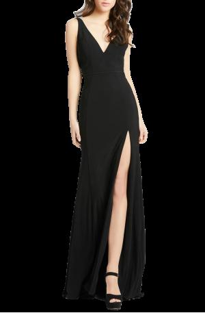Plunge Neck Slit Jersey Gown – Black