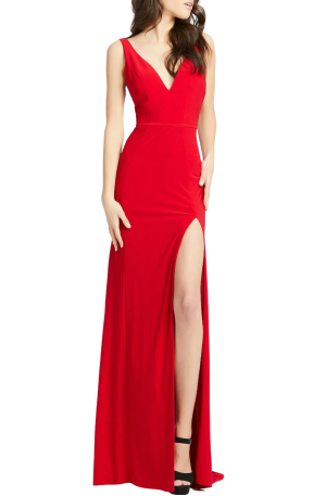 Plunge Neck Slit Jersey Gown – Red