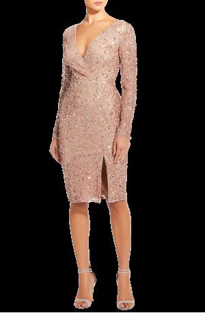 Rose Gold Beaded Wrap Dress