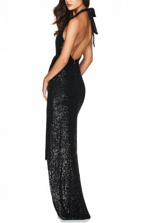 Selena Halter Gown – Black