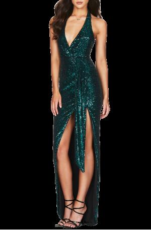 Selena Halter Gown – Teal