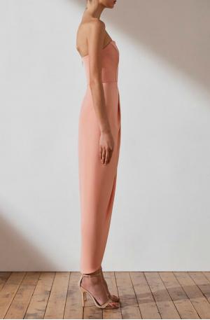 U Bustier Draped Dress – Dusty Pink