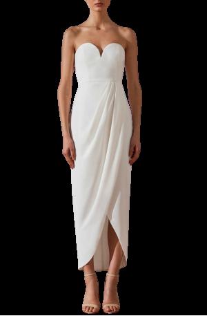 U Bustier Draped Dress – Ivory