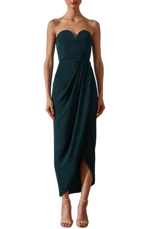 U Bustier Draped Dress – Seaweed