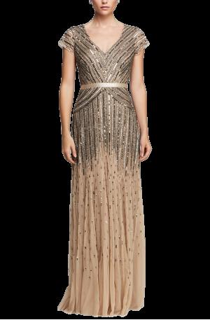Cassandra V Neck Gown – Gold