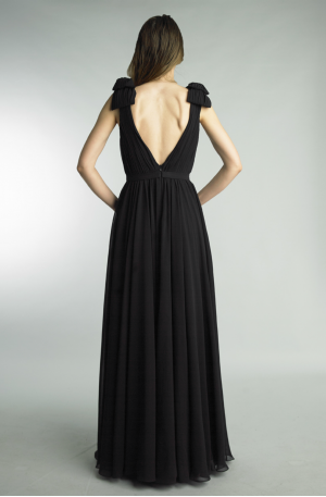 Deep V Swan Gown – Black