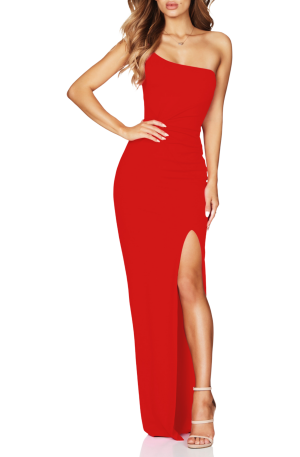 Lust One Shoulder Gown – Red